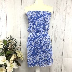 XPRESS STRAPLESS CHIFFON MINI DRESS BLUE SIZE XS